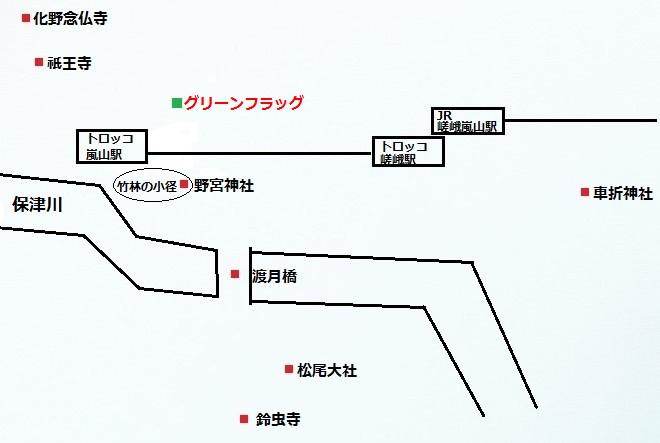 嵐山観光地簡略図-京都
