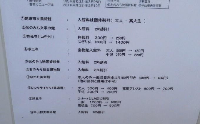 割引内容-尾道千光寺山ロープウェイ乗車券