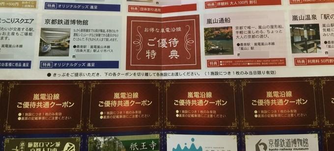優待特典クーポン-嵐電