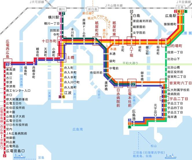 広島路面電車広電の路線図