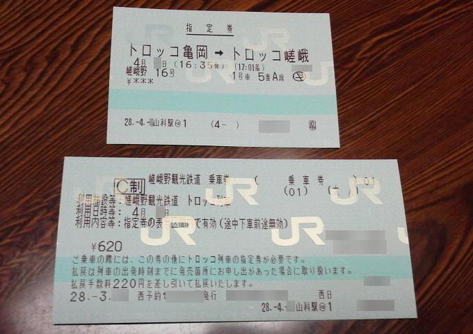 乗車券-トロッコ列車京都