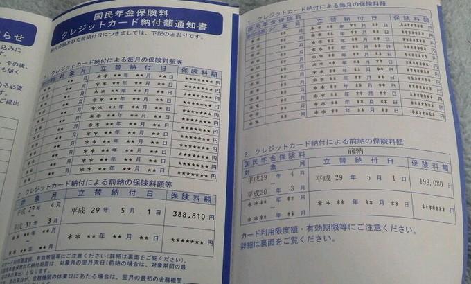 金額-国民年金クレジットカード納付通知書2枚
