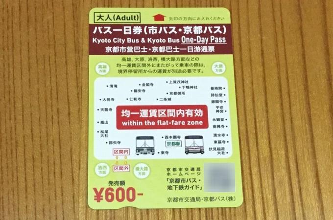 バス一日券-京都観光