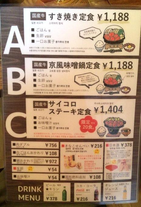 メニュー-佰食屋すき焼き専科京都